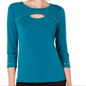 JM Collection Studded Keyhole Top Teal Abyss Med